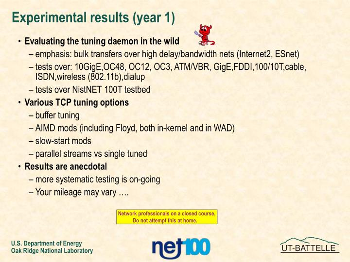 Experimental results (year 1)