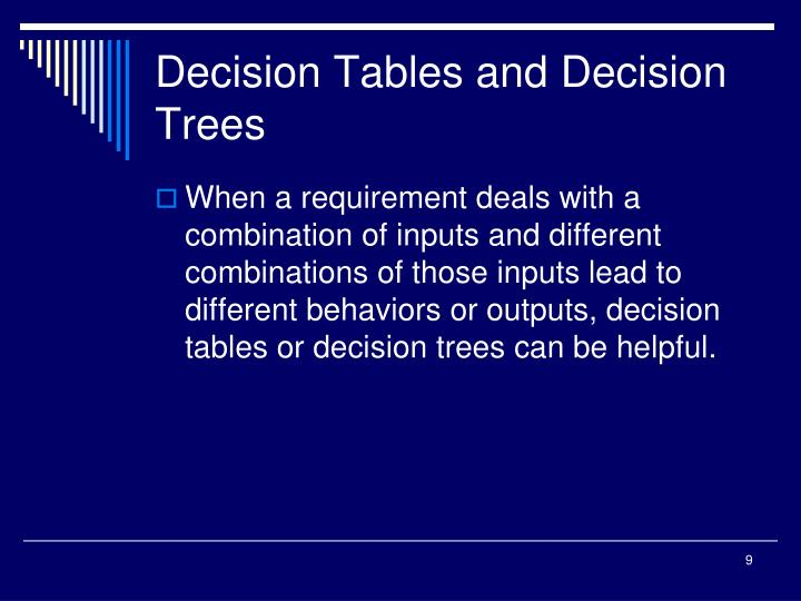 Decision Tables and Decision Trees