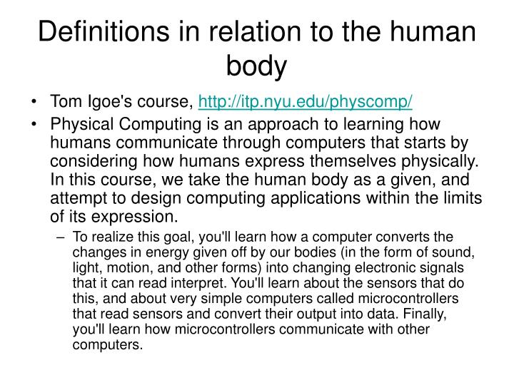 Definitions in relation to the human body