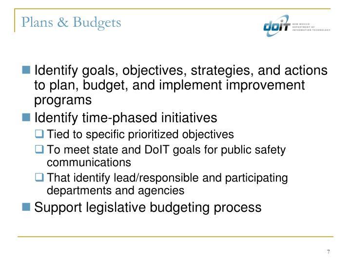 Plans & Budgets