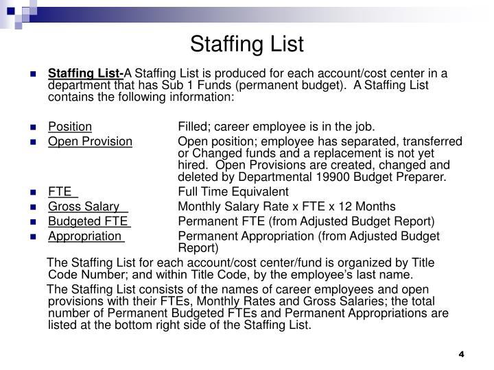 Staffing List
