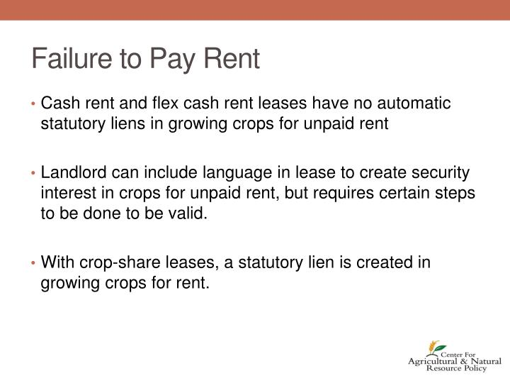 Failure to Pay Rent