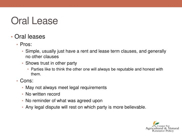 Oral Lease