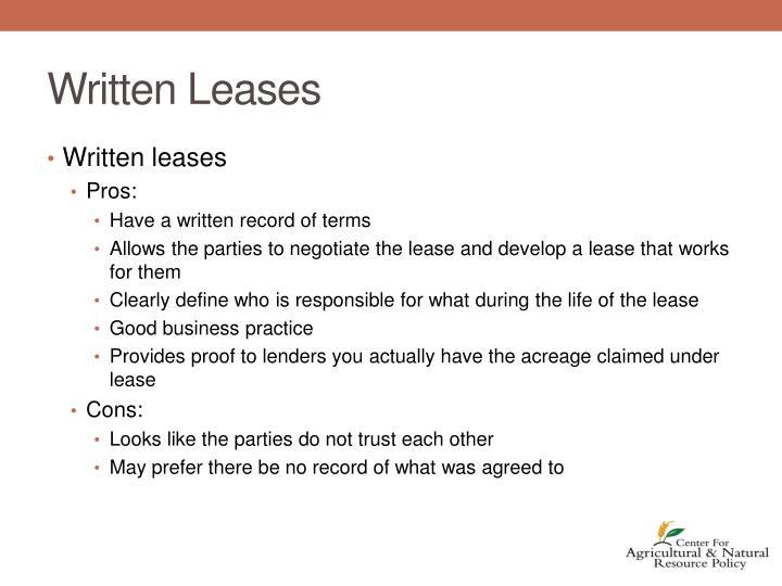 Written Leases