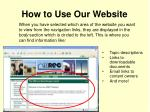 how to use our website