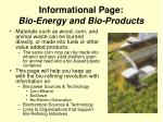 informational page bio energy and bio products