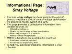 informational page stray voltage