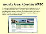 website area about the mrec