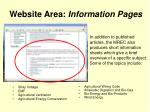website area information pages
