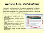 website area publications
