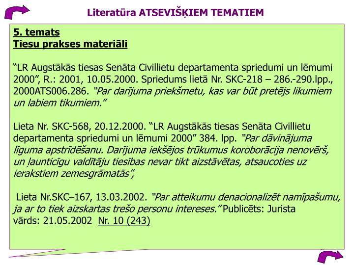 Literatūra ATSEVIŠĶIEM TEMATIEM