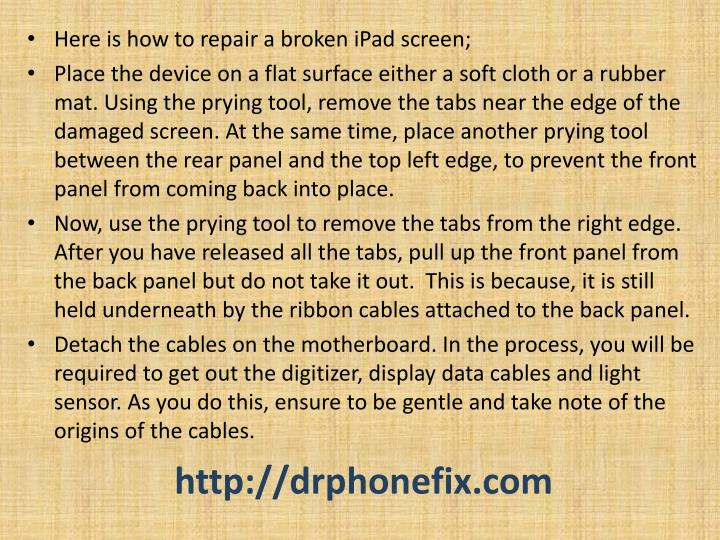 Here is how to repair a broken