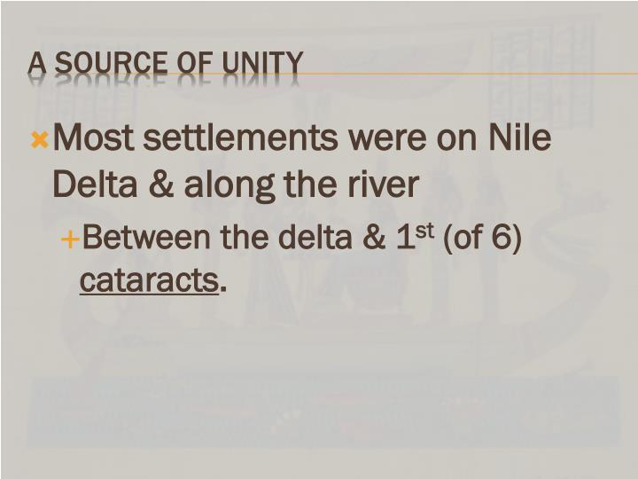 Most settlements were on Nile Delta & along the river