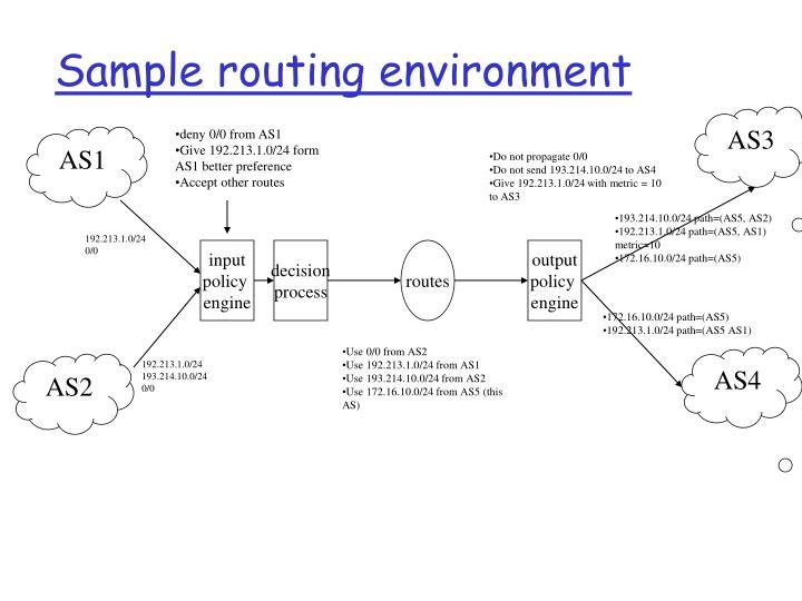Sample routing environment