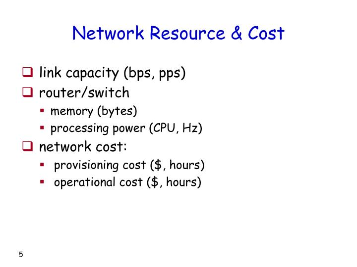 Network Resource & Cost