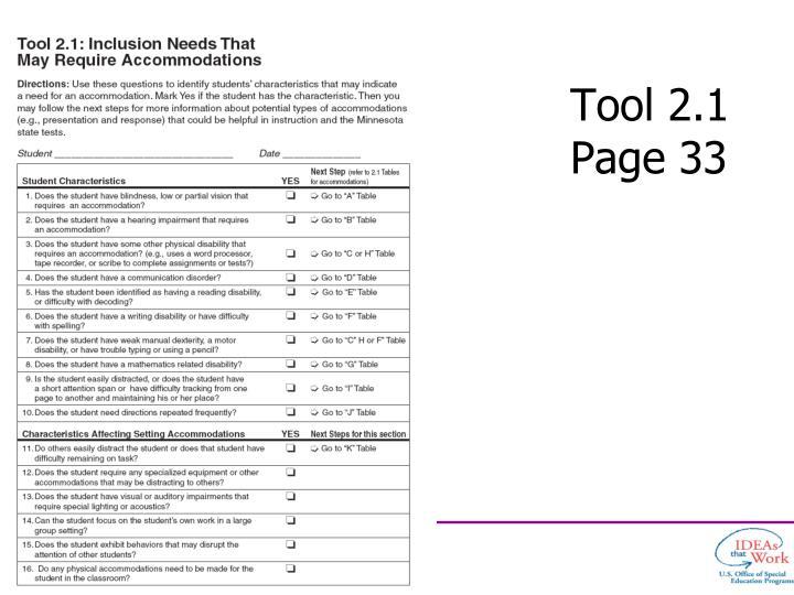 Tool 2.1
