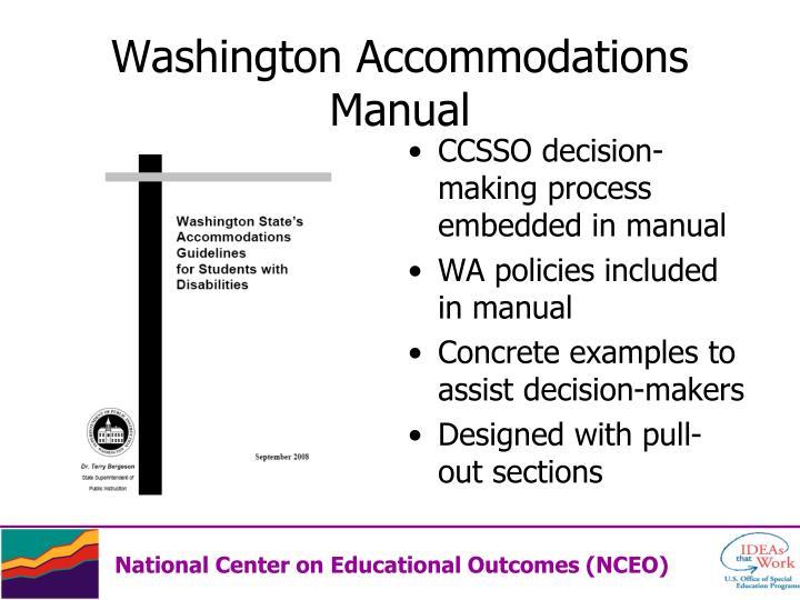 Washington Accommodations Manual