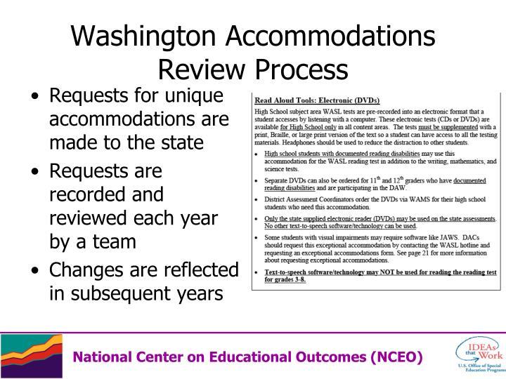 Washington Accommodations Review Process