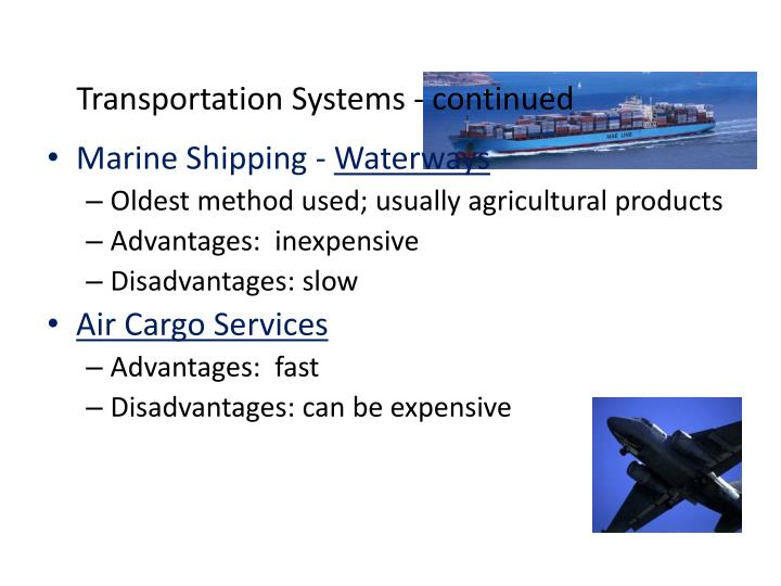 Transportation Systems - continued