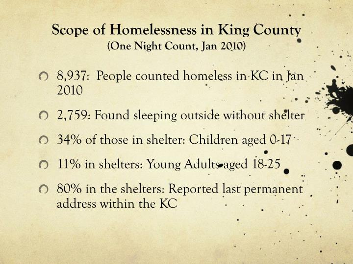 Scope of Homelessness in King County