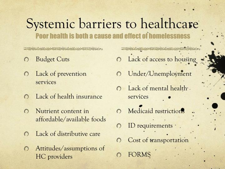 Systemic barriers to healthcare