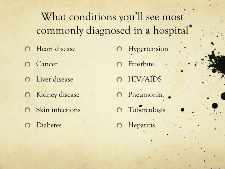 What conditions you'll see most commonly diagnosed in a hospital