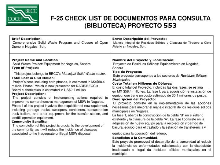 F-25 CHECK LIST DE DOCUMENTOS PARA CONSULTA