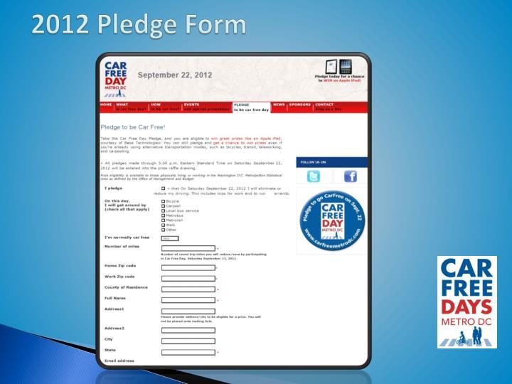 2012 Pledge Form
