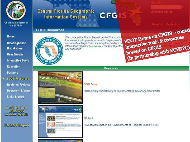 FDOT Home on CFGIS – contains interactive tools & resources