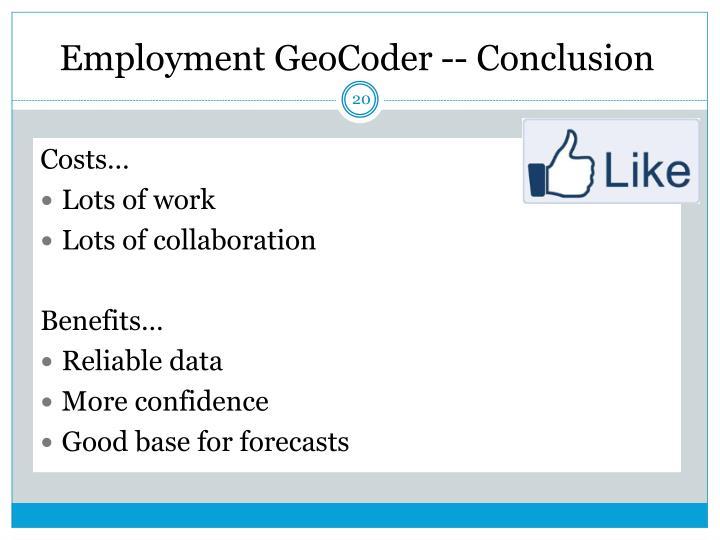 Employment GeoCoder -- Conclusion