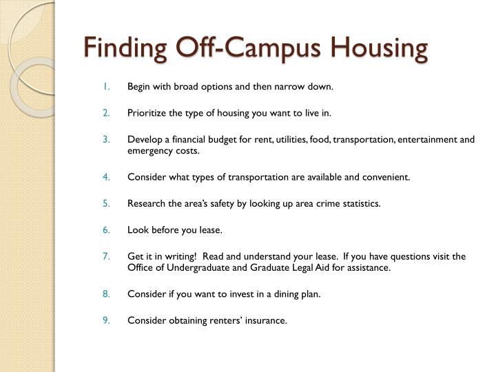 Finding Off-Campus Housing
