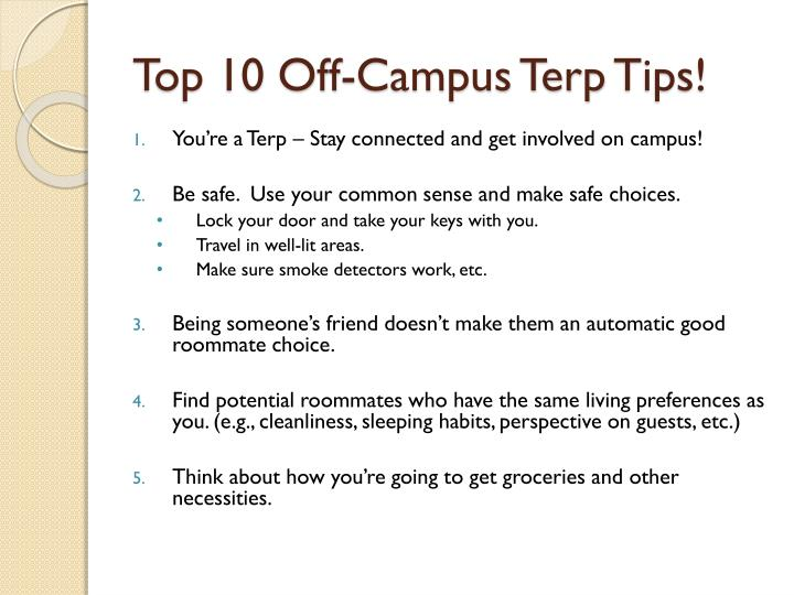 Top 10 Off-Campus