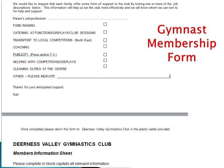 Gymnast Membership Form