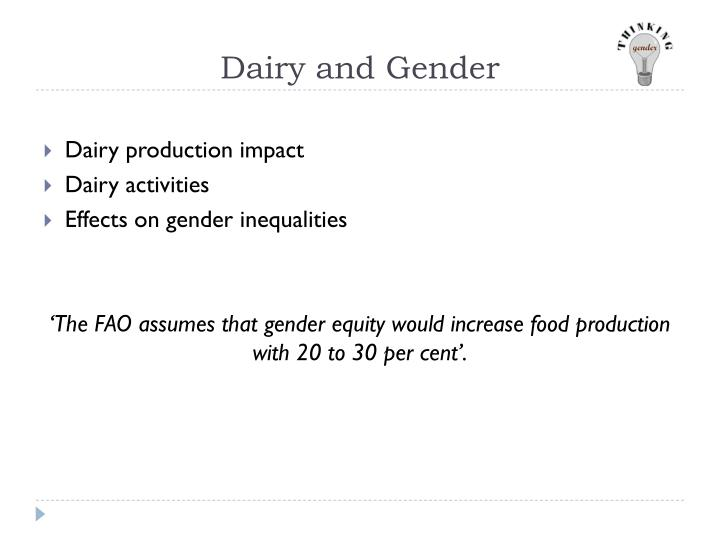 Dairy and Gender