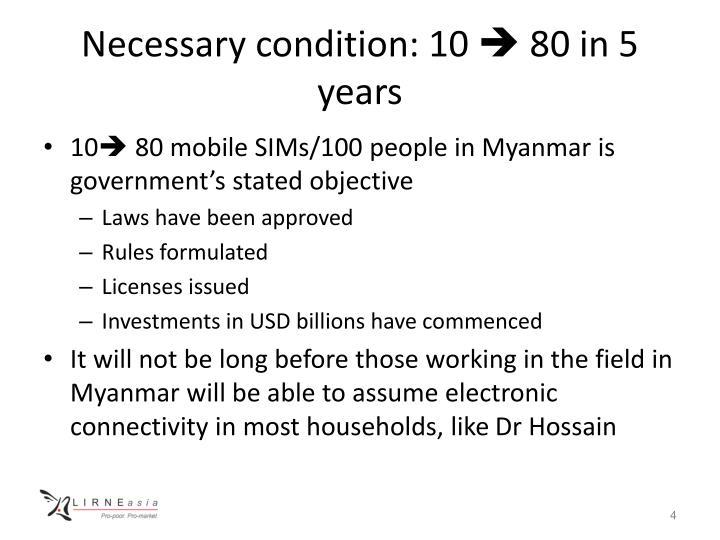 Necessary condition: 10