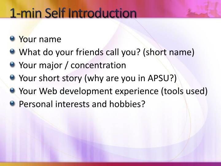 1-min Self Introduction