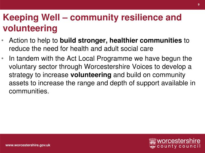 Keeping Well – community resilience and volunteering