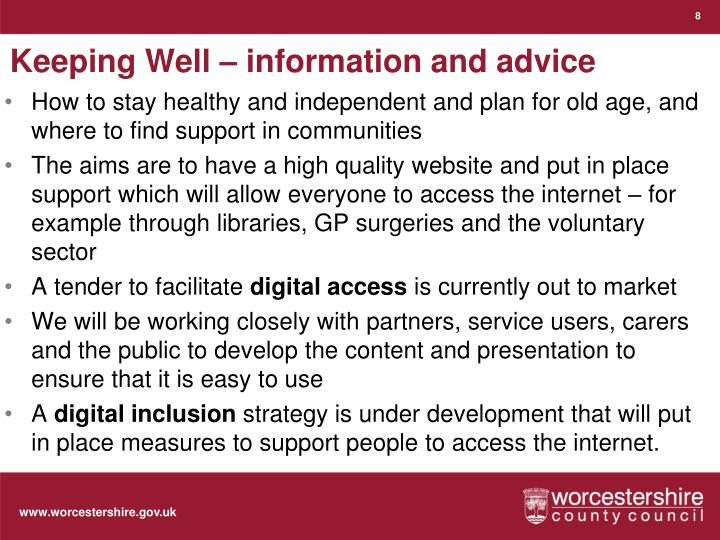 Keeping Well – information and advice