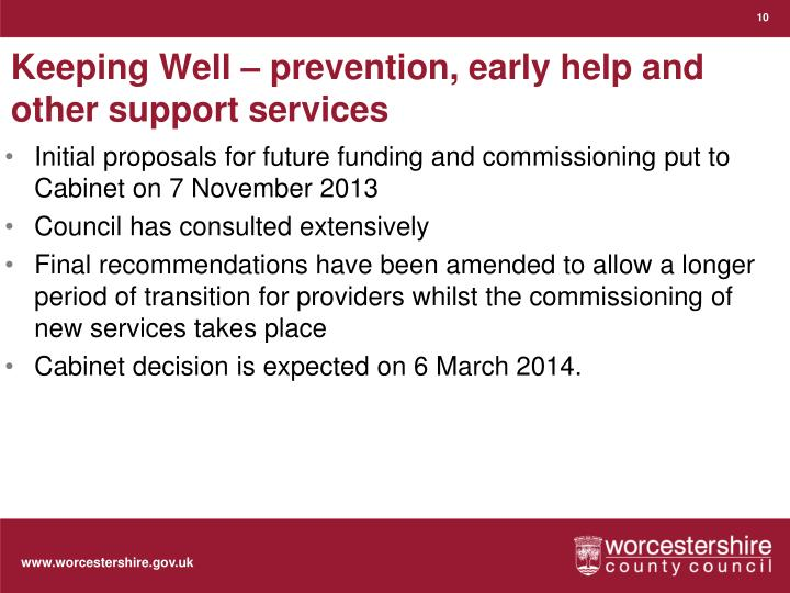 Keeping Well – prevention, early help and other support services