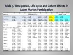 table 3 time period life cycle and cohort effects in labor market participation