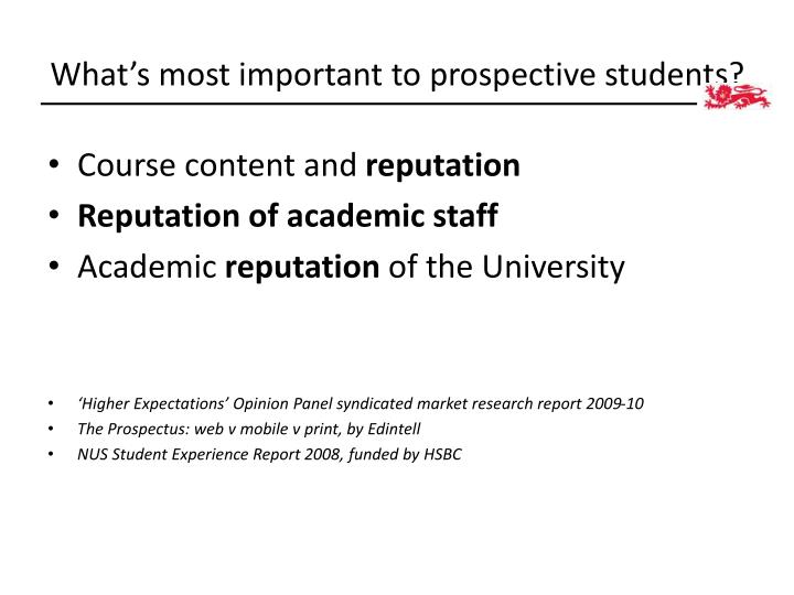 What's most important to prospective students?