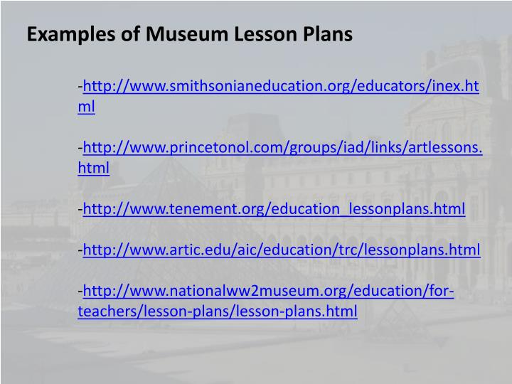 Examples of Museum Lesson Plans