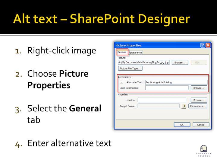Alt text – SharePoint Designer