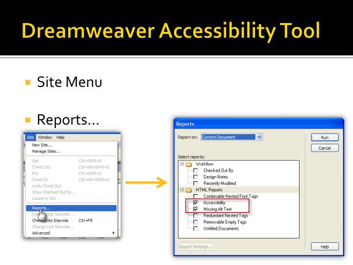 Dreamweaver Accessibility Tool