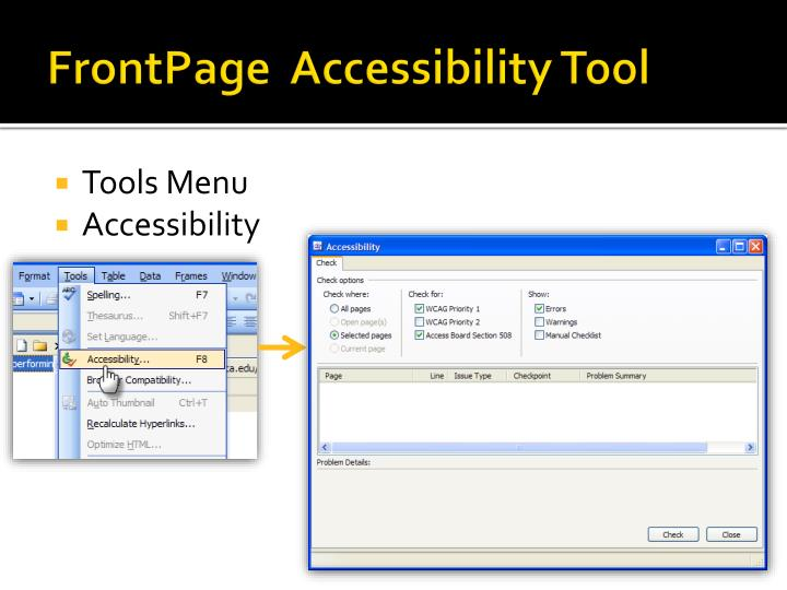 FrontPage  Accessibility Tool