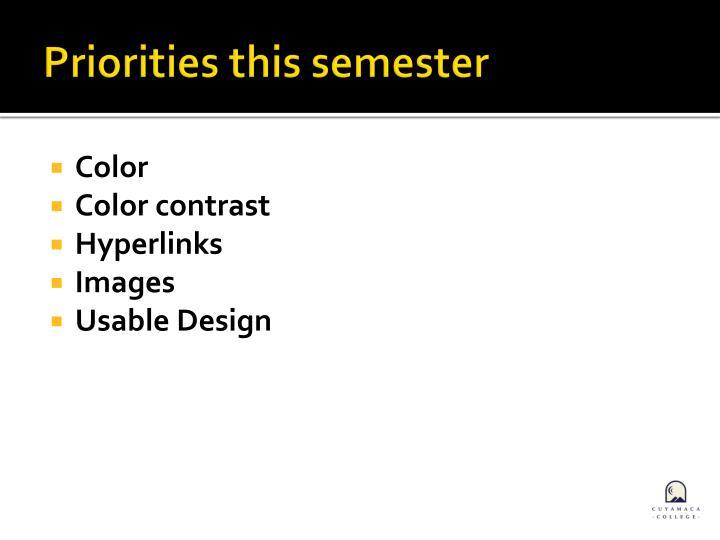 Priorities this semester