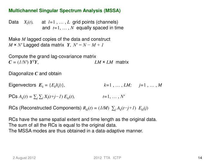 Multichannel Singular Spectrum Analysis (MSSA)