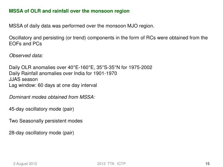 MSSA of OLR and rainfall over the monsoon region