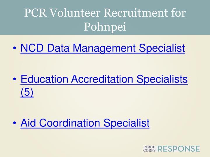 PCR Volunteer Recruitment for Pohnpei