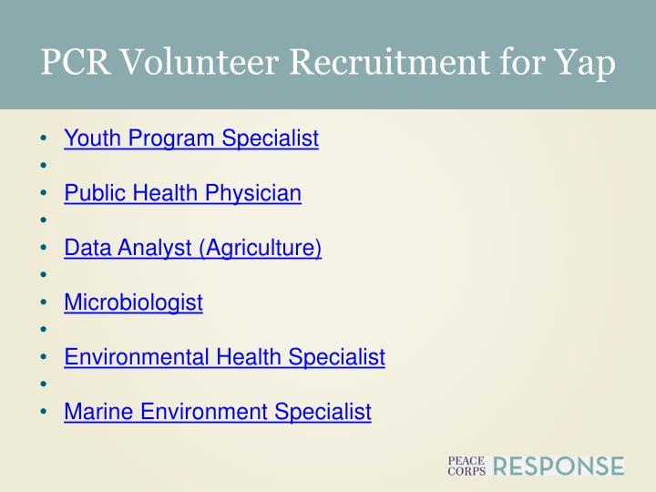 PCR Volunteer Recruitment for Yap